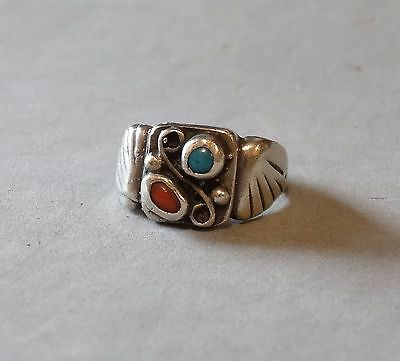 Vintage Turquoise Coral Man Ring Sterling Silver Native American Navajo Sz 10.25