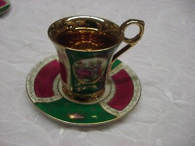 Fabulous GOLD WASHED gilded TEA CUP & SAUCER Fine Japan Porcelain Red  Green TR9