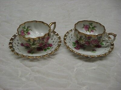 PAIR of Gorgeous 3 Footed gilded Floral TEA CUP & SAUCER Japan Porcelain TR9
