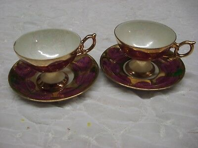 PAIR of Gorgeous Round Footed gilded TEA CUP & SAUCER Japan Porcelain TR9