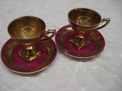 PAIR of GOLD WASHED Square Footed gilded TEA CUP & SAUCER Japan Porcelain TR9