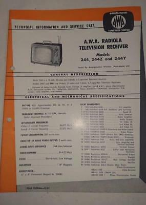 Vintage AWA Radiola Television Model 244 - Technical Info & Service Data 1961