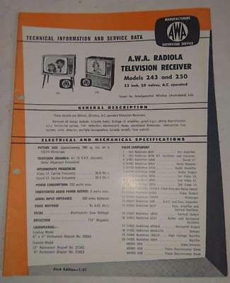 Vintage AWA Radiola Television Model 243,250- Technical Info & Service Data 1961