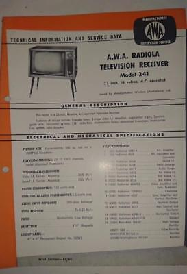 Vintage AWA Radiola Television Model 241 - Technical Info & Service Data 1960