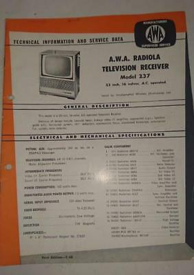 Vintage AWA Radiola Television Model 237 - Technical Info & Service Data 1960