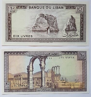 BANK of LEBANON 10 Livre note. 2 consecutive notes in mint condition Unc.
