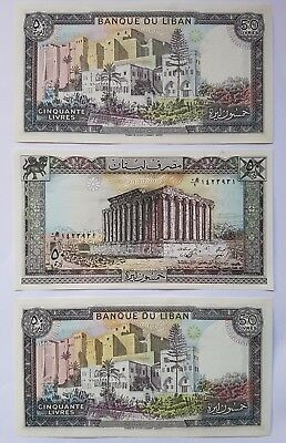 BANK of LEBANON 50 Livre note. 3 consecutive notes in mint condition Unc.