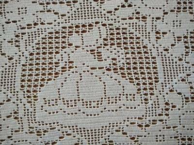 Charming Double CRINOLINE LADY Filet Hand Crochet White Centrepiece/Panel