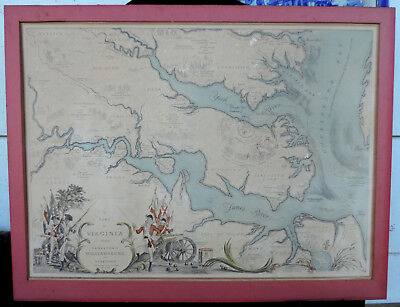 Vintage History events 1585 to 1781 in Map of Virginia 1939 print Jamestown York