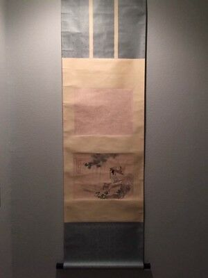 Antique Chinese Qing Dynasty Watercolor Painting Scroll on Silk by 王素/王小梅