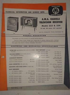 Vintage AWA Radiola Television Model 223,224- Technical Info & Service Data 1959