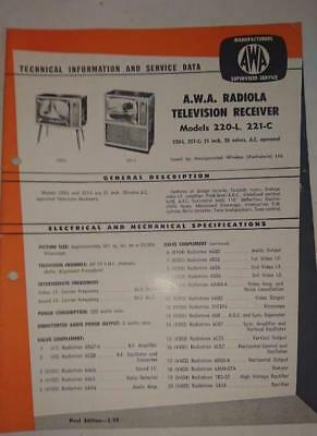 Vintage AWA Radiola Television Model 220,221- Technical Info & Service Data 1959