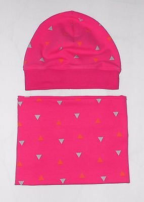 Beanie Mütze  Loop Schal  Triangles Pink 2 Tlg Set  HANDMADE