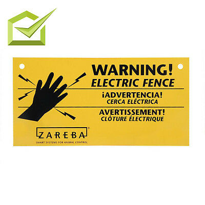 Yellow Electric Fence Warning Sign Outdoor Farms Garden Animael Fencing 3-Pack