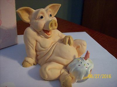 PIGTAILS™ Pig Out Birthday Figurine PT309 from 1992 Holland Studios