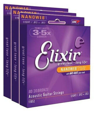 3 SETS!! Elixir 11052 80/20 Bronze Acoustic Guitar Strings NANOWEB Coatin