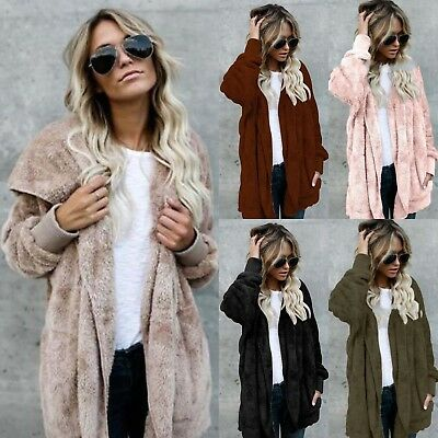 Plus Size Womens Winter Hooded Fluffy Coat Fleece Fur Jacket Loose Ladies Tops