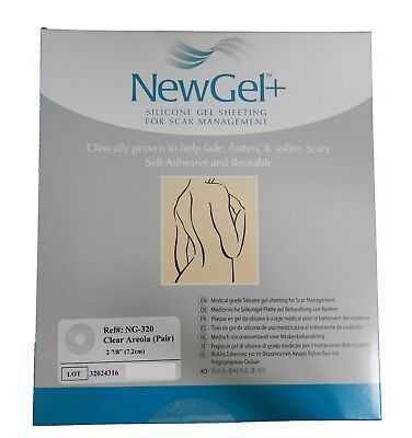 NewGel+ Silicone Gel Sheeting Breast Scar Management 2 Clear Areola circles