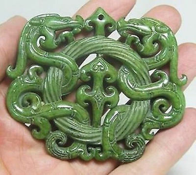 Chinese Old Handwork Green Jade Carved Dragon Pendant 116