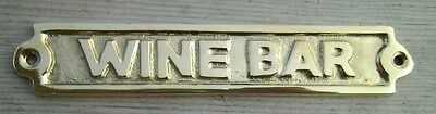 WINE BAR Brass Sign Plaque Nautical Ship Boat Decor NEW