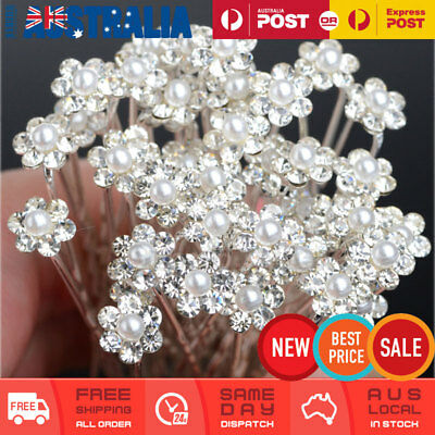 20 x Wedding Bridal Pearl Flower Floral Crystal Hair Pins Clips Bridesmaid Party