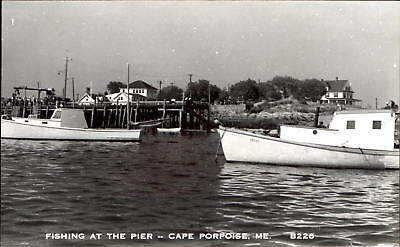 Fishing at the Pier ~ Cape Porpoise Maine ~ boats RPPC real photo