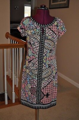 Beige by ECI Paisley Print Sequin Beaded Tunic Dress Size 4 Multi-Color Boho