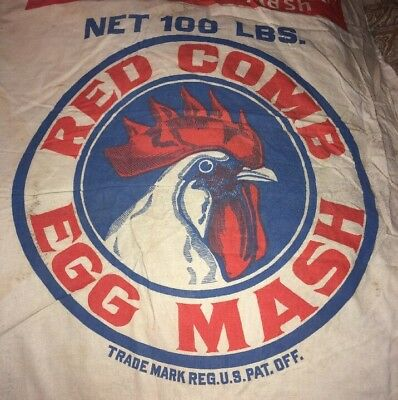 Rare Red Comb Egg Mash Scratch Chicken Feed Sack 100lbs Chicago