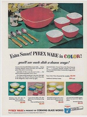 """PYREX 8x11"""" REPRINT AD Mixing BOWLS Vtg 1951 REFRIGERATOR Dishes Primary Colors"""