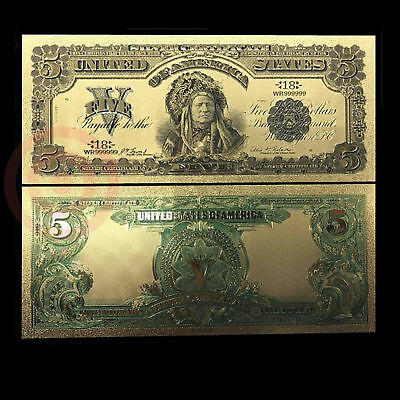 24K Gold Foil Plated 1899 $5 Dollars Us Currency Gold Money Novelty With Sleeve