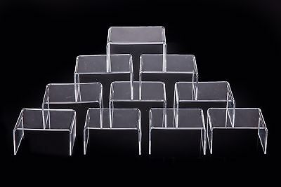 "10 PCS Clear Acrylic Display Risers Stand Showcase for Jewelry Cube 4"" x 3""x 2"""