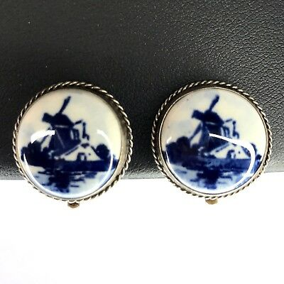 Vintage Signed Delft Clip On Earrings Sterling Silver 835 Holland Windmill