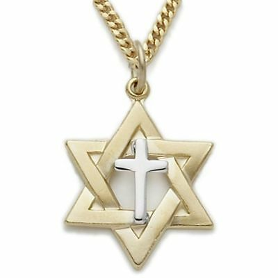 Messianic sterling silver star of david cross pendant necklace 925 gold plated sterling silver two tone star of david pendant cross design on chain aloadofball Gallery