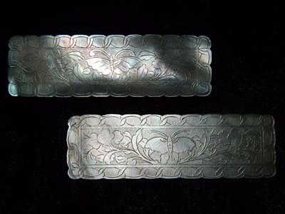 Antique Chinese Hand Carved Rectangular Mother Of Pearl Butterfly Gaming Chips