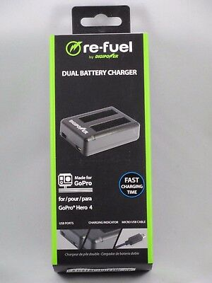 Digipower Solutions Re-Fuel Dual Battery Chargerfor GoPro Hero 4 - New