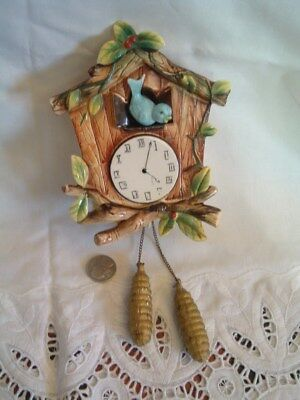 Vintage Wall Pocket Cuckoo Clock with Blue Bird Red Berry Green Leaves