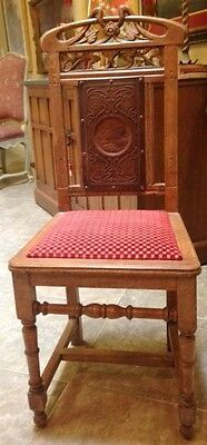 Exceptional Art Nouveau Side Chair  w  Carved Leather Image