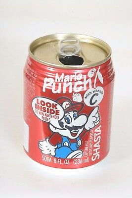 Shasta Mario Punch Soda Can - 8oz Nice - Win Nintendo