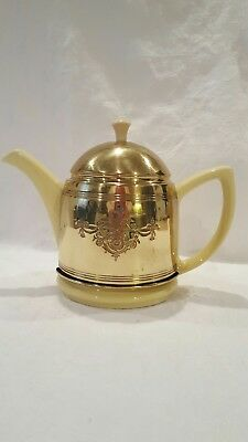 Vintage Hall China Yellow Teapot With Brass Insulated Cozy Cover USA