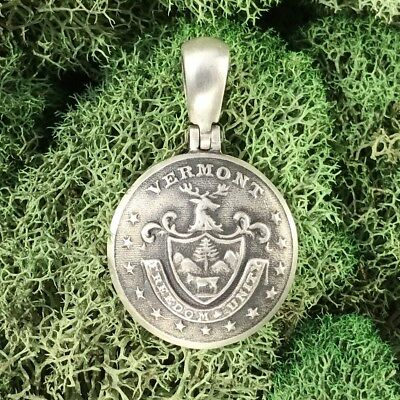 Sterling Silver Union VERMONT State Coat Of Arms Button Civil War Relic Pendant