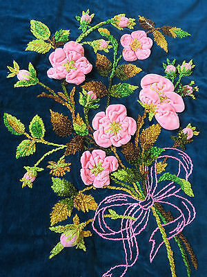 Antique Pillow Case Cover Embroidered Vintage Handmade Chenille Raised Flowers