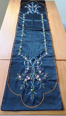 Antique Runner Embroidered Table Dresser Scarf Cover Hand Embroidery flowers bow