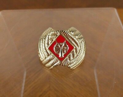 VTG Boy Scouts of America Neckerchief Scarf Red Wolf Tie Slide Clip Cub BSA Gold