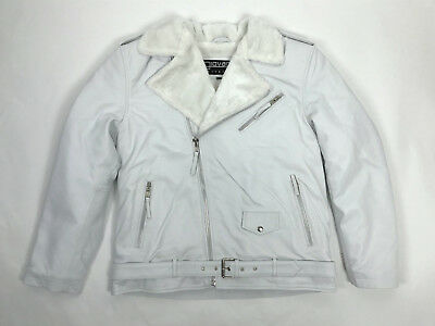 Mens Leather Classic Biker Jacket Motorcycle White Fur Lined B3 Bomber All Sizes
