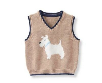 *NWT* $36 Janie and Jack Scottie Dog Sweater Vest From Scottie Park Collection