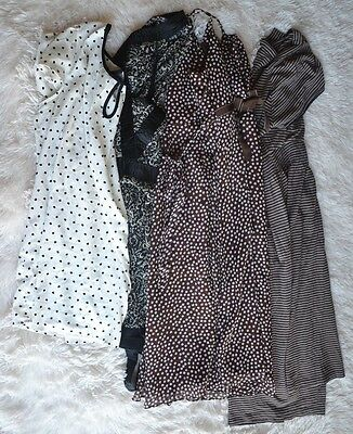 lot 4 Motherhood Maternity Mixed dressess blouses Polka dots Work Casual sz L