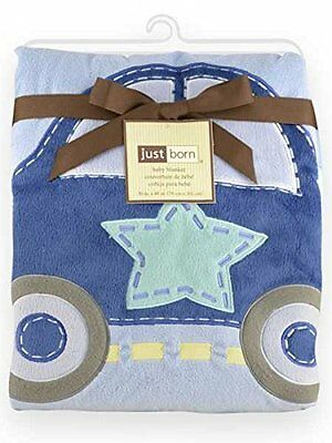 *BNWT* Triboro 41523L Just Born Jumbo 3D Valboa Applique Blanket - Blue Car