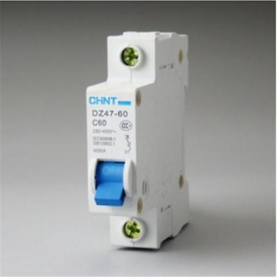 DZ47-60 C60 AC230/400V 1P 60A Rated Current 1 Pole Miniature Circuit Breaker