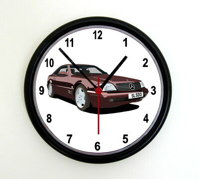 CLOCK - MERCEDES R129 SL GRAPHIC CAR - Various Colours, 9 inch photo wall clock