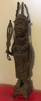 Antique African Benin Bronze Sculpture Of An Warrior.